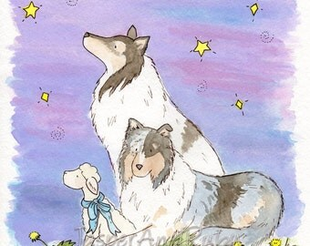 Collie Art, Nursery Art, Children's Wall Art, Wishing Star Print, Puppy Art Print, Kids Wall Art, Dog Print, Nursery Decor, Collie Gift