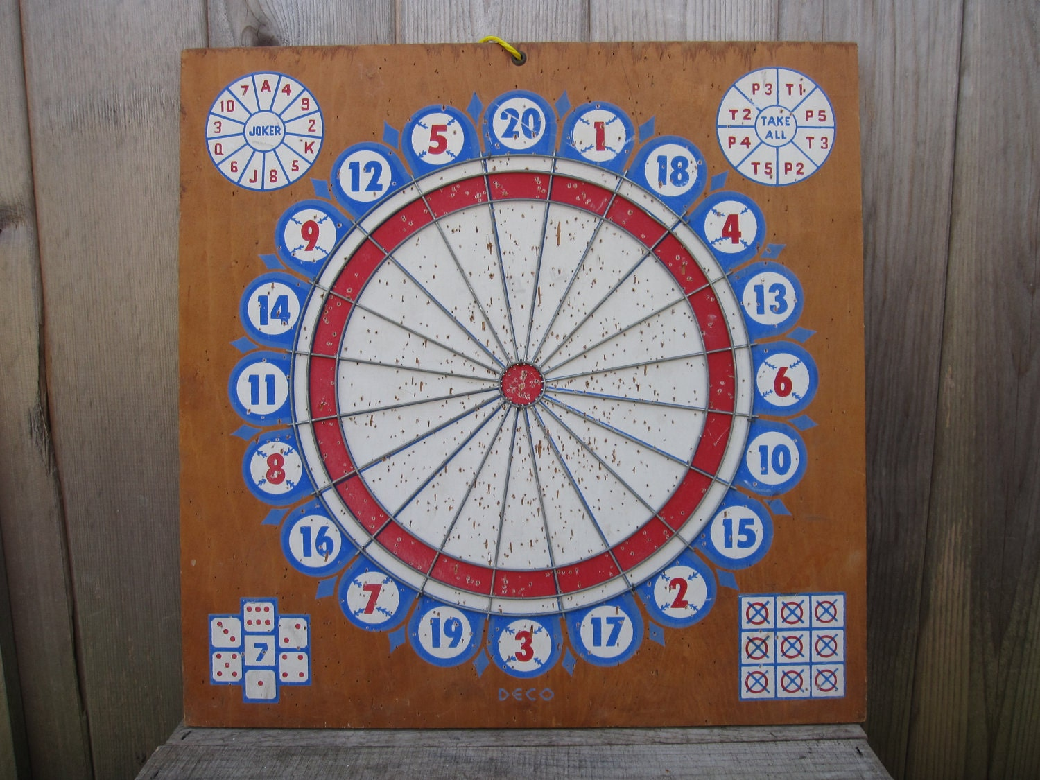 Vintage Doublesided Deco Wood Dart Board Circa 1950s