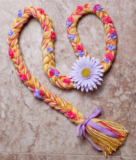 Tangled Rapunzel Hair Braid (2-4 year olds) with pink and purple flowers for little girls made to order