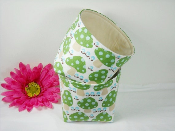SALE-Mini Fabric Baskets- Organizer Bins- Retro Large Brown Polka Dot Mushrooms- Set of 2- On Sale