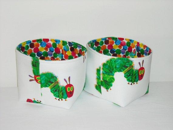 Small Fabric Baskets- Organizer Bins-  The Very Hungry Caterpillar