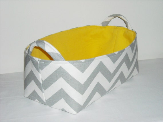 Fabric Basket Organizer Bin -Gray and White Chevron