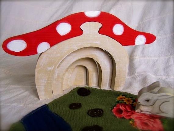 Mushroom Stacker - Waldorf inspired fairy and gnome world imaginative play toy