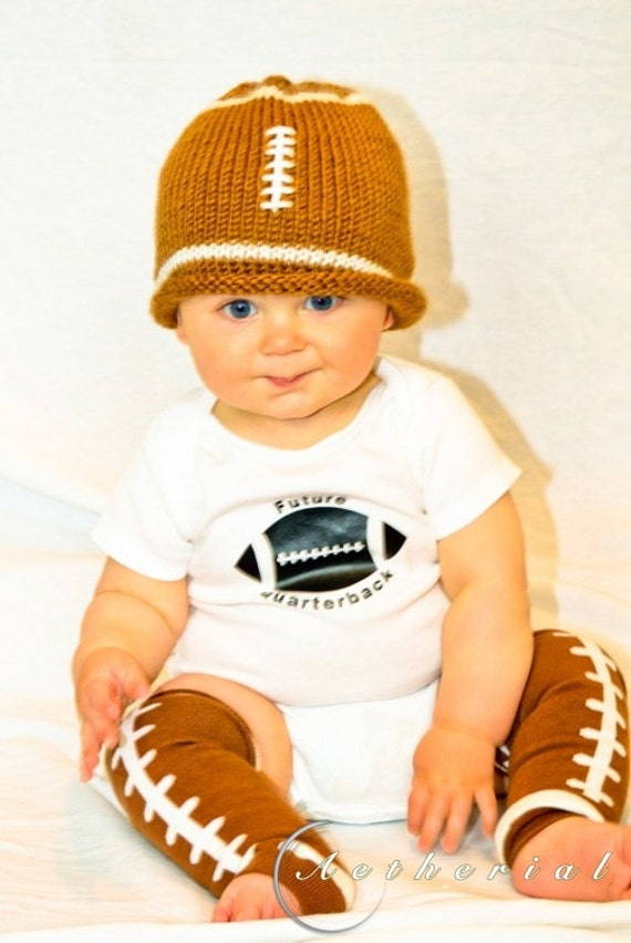 Private Listing for F. Baby Boy Football Outfit hat, onesie, legwarmers Gift Set