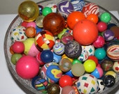 Vintage Bouncy Balls Bowl of colorful one of a kind bouncy balls large and small Retro art panton