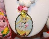 Sailor Moon Necklace White Glass Beads Sweet Silver cameo Kawaii Anime manga girls