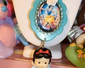 Snow white Necklace Vintage shades of blue beaded necklace Japan release mini baby snow white pendant