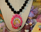 SALE Miss Piggy Necklace Faceted Black vintage beads Queen B necklace pretty in Pink