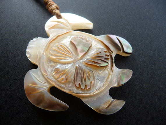 Hand Carved Shell Turtle (Inner Beauty) Necklace-FREE SHIPPING