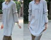 Babydoll Pleated Linen Dress/ 9 COLORS