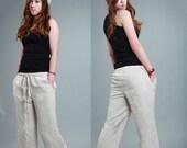elastic waist linen pants / 22 Colors/ Any Size/ RAMIES
