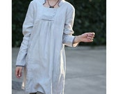 Babydoll Pleated Linen Long Blouse/ 35 COLORS/ Any Size/ RAMIES