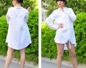 Petal linen Long Blouse/ 18 Colors/ Long Sleeved or Short Sleeved/ Any Size/ RAMIES