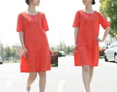 Leisure Style Linen Long  Shirt Dress With Silver Buttons/ 20 Colors/ Any Size/ RAMIES