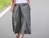Pleated Linen Long Skirt/ Grey/ RAMIES