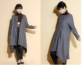 Asymmetrical Linen Long Jacket/ 12 Colors/ RAMIES