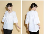 Lace  Hem Blouse with Mid-length Sleeves/ 5 Colors/ RAMIES
