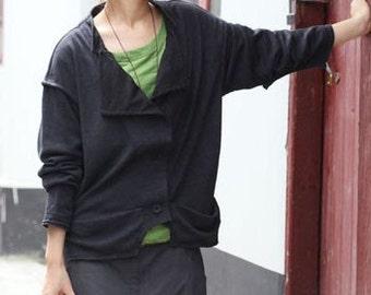 Knitted Wool jacket / Black and Grey/ RAMIES