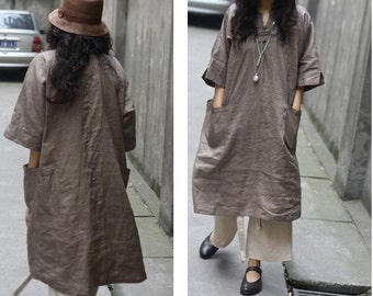 Ethnic Chinese Style Linen Long Dress/ 27 Colors/ RAMIES