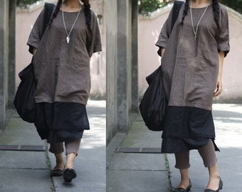 Patchwork Linen Dress With Double Layers Bottom/ANY SIZE/ RAMIES