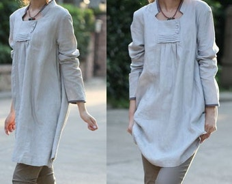Babydoll Pleated Linen Dress/ 35 COLORS/ RAMIES