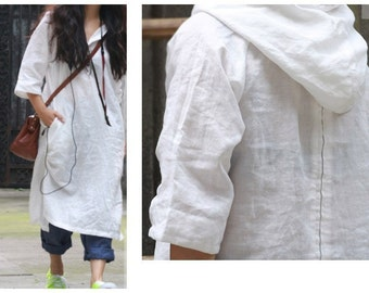 Asymmetrical Hoodie Linen Shirt Dress/ 28 Colors/ RAMIES