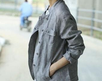 Asymmetrical  Linen Light Jacket/ ANY Size/ 9 Colors/ RAMIES