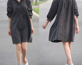 Pleated Linen  Shirt Dress/ 27 Colors/ ANY SIZE/ RAMIES