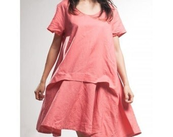 Asymmetrical Hoodie Linen Dress/ 27 Colors/ Any Size/ RAMIES
