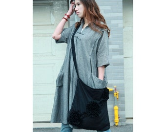 Ethnic Chinese Style Linen Long Dress With Big Pockets/ Any Size/ 27 Colors/ Any Size/ RAMIES