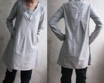 Lovely Asymmetrical Linen Long Blouse/ 26 Colors/ RAMIES