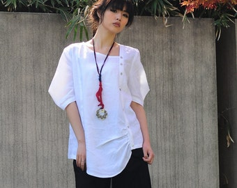 Button-Down Asymmetrical Blouse with Special Sleeves/ 27 Colors/ RAMIES