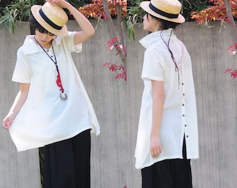 Flower Bud Long Linen Blouse with Decorative Buttons in Back/ Any Size/ 18 Colors/ RAMIES