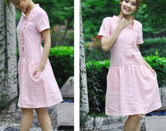 Cute Linen Dress with Asymmetrical Stand-up Collar/ 18 Colors/ Any Size/ RAMIES