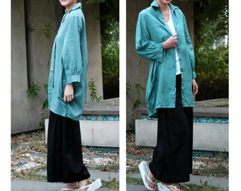Free Style Flower Bud Linen Long Blouse with Special Collar/ 18 Colors/ RAMIES