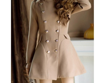 Double Breasted Wool Coat Dress/ 20 Colors/ Any Size/ RAMIES
