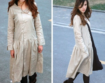 Leisure Style Dress With Handmade knot Buttons/ Long Sleeves or 3/4 Sleeves/ RAMIES
