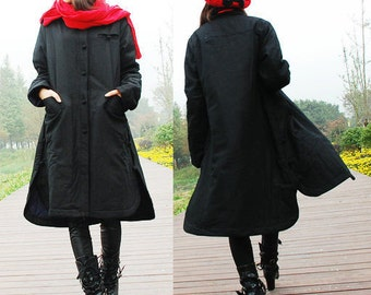 Ethnic Style Winter Long Coat with Handmade Buttons/ 9 Colors/ RAMIES