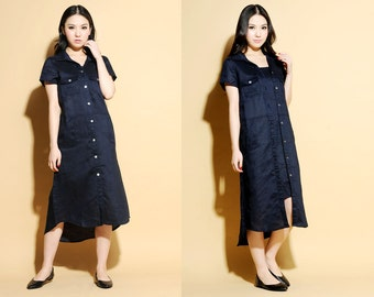 False Two-Pieces Linen Long Dress /27 Colors/ RAMIES