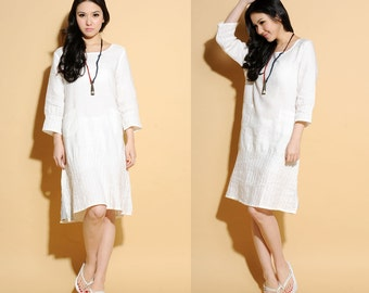 Sweet Full Pleated Linen Dress with 3/4 Sleeves/ 24 Colors/ RAMIES