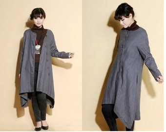 Asymmetrical Linen Long Jacket/ 12 Colors/ RAMIES