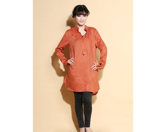 Simple and Elegant Linen Shirt dress with Two layers Collar/ Any Size/ 25 Colors/ RAMIES