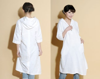 Asymmetrical Hoodie Linen Shirt Dress/ Any Size/ 25 Colors/ RAMIES