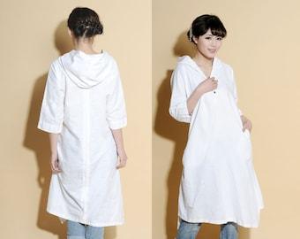 Asymmetrical Hoodie Linen Shirt Dress/ Any Size/ 25 Colors/ RAMIES