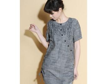 Drawstring Linen Long Blouse with Ruffles/ 28 Colors/ RAMIES