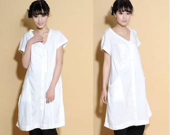 Pleated  Asymmetrical Linen Dress with Big Pockets/ 34 Colors/ RAMIES