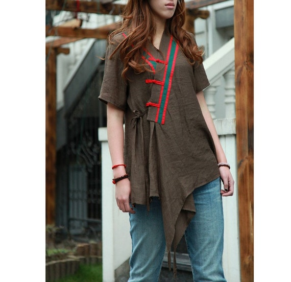 Patchwork  Asymmetrical Silk Long Blouse with Short sleeves or Long Sleeves/ 19 Colors/ RAMIES