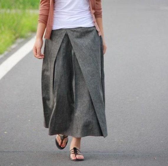 Pleated Linen Long Skirt/ Grey/ Black/ Navy/ RAMIES