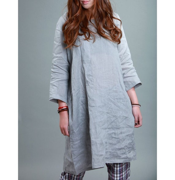 Pleated Linen Dress With Belt/ Any Size/ 28 Colors/ RAMIES