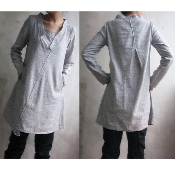 Lovely  Asymmetrical Linen Long Blouse/ 35 Colors/ RAMIES